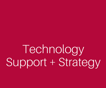 The words Technology Support + Strategy