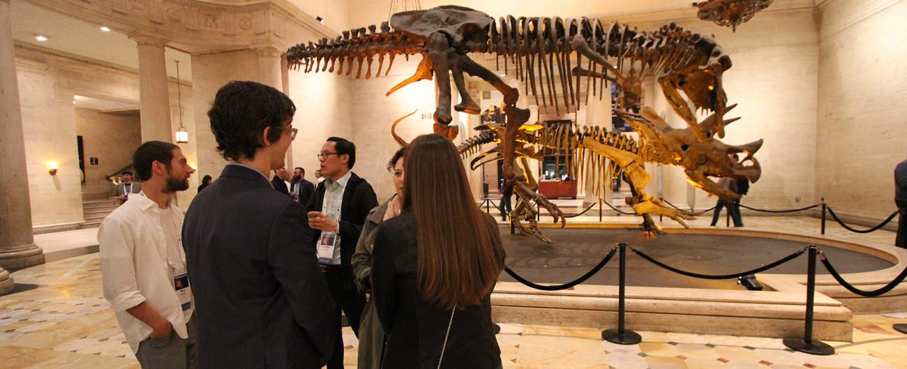 A group looks a display of dinosaurs in a museum. Photo by Jesse Russell Brooks