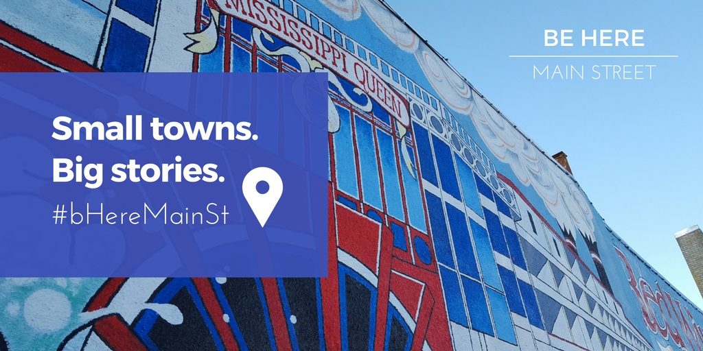 Be Here: Main Street Promotional graphic of mural in Red Wing, Minnesota