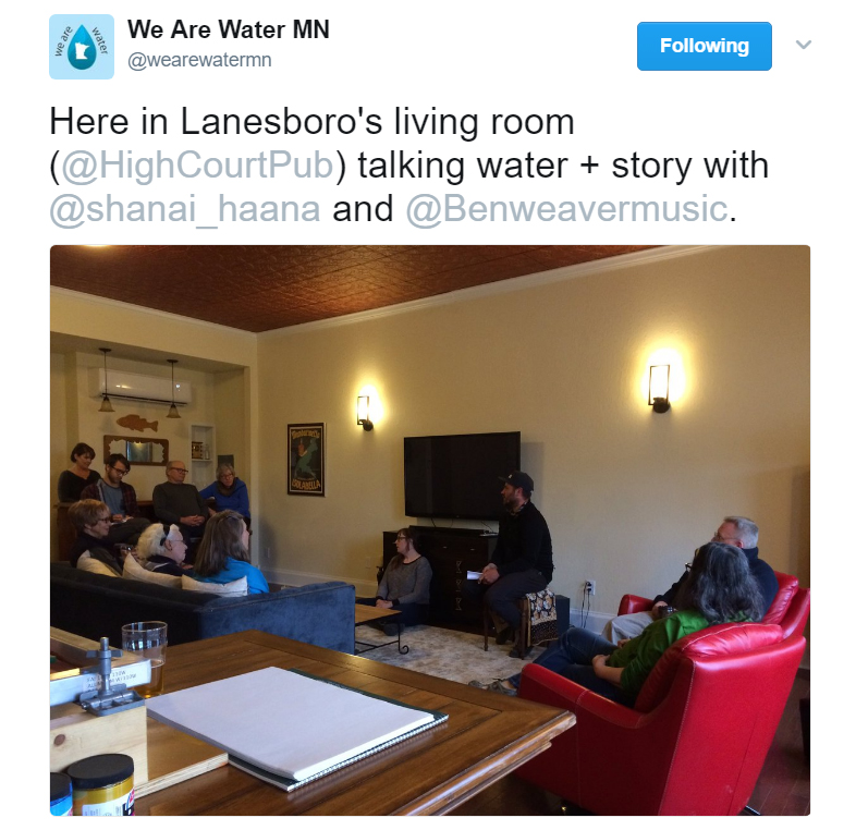 "Twitter post showing the words ""Here in Lanesboro's living room, talking water and stories."""